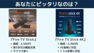 Fire TV Stick 4K / Fire TV Stickならおすすめはどっち?