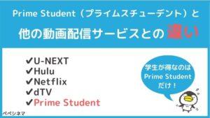 アマゾンプライムの学生プラン「Prime Student」と他の動画配信サービスの違い